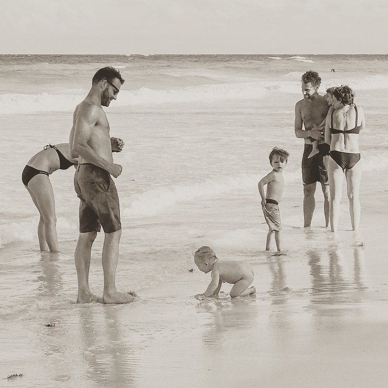 Familes on Tulum Beach