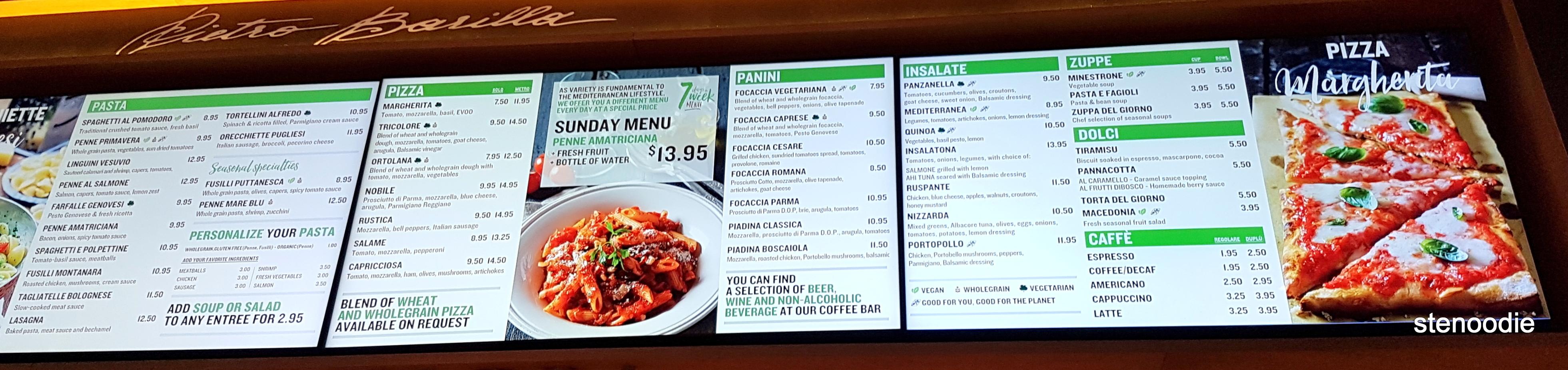 Barilla Restaurants menu and prices