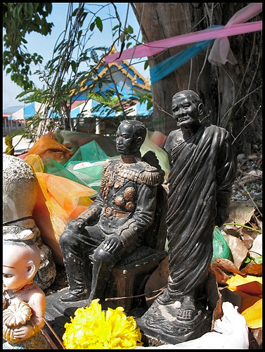 Wat Vichit Sangkaram - Statues at a Holy Tree