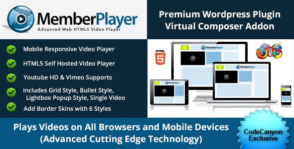 MemberPlayer HTML5 Video, Youtube, & Vimeo v1.13.0 – VC Addon