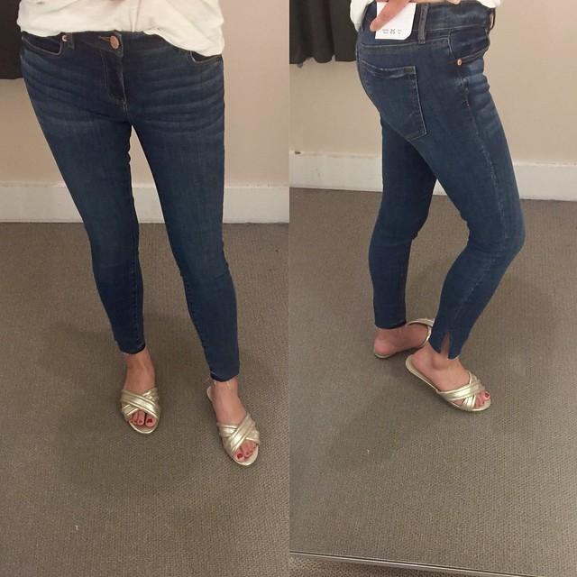 LOFT Modern Slit Fresh Cut Skinny Jeans in Vivid Dark Indigo Wash, size 25/0P