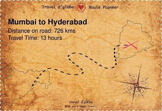 Map from Mumbai to Hyderabad