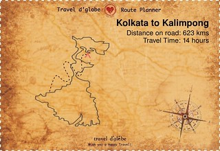 Map from Kolkata to Kalimpong