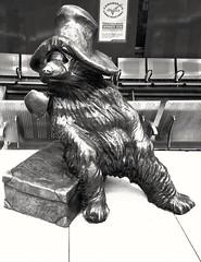 Paddington Bear, on Platform 1, at Paddington Station in the London Underground, 2017.