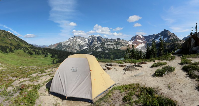 Our tent and campsite at Cloudy Pass, looking southeast toward Lyman Lake and Spider Gap