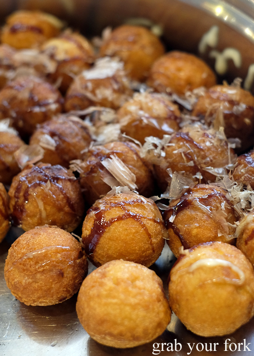 Takoyaki octopus balls at Yass Korean BBQ Buffet in Strathfield Sydney
