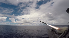 A Harpoon missile launches from the missile deck of USS Coronado (LCS 4) off the coast of Guam, Aug. 22. (U.S. Navy/FCC Adam Hoffer)