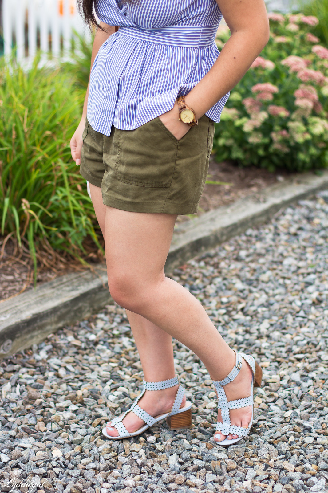 striped peplum top, shorts, panama hat, straw bag-8.jpg