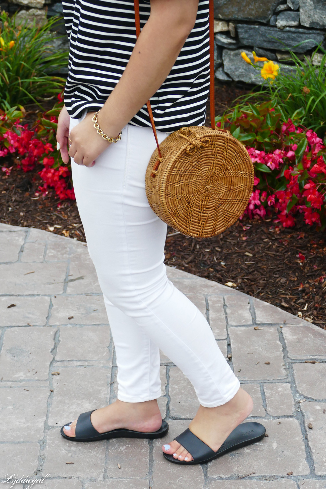 striped of the shoulder top, white jeans, straw bag, soak slides-2.jpg
