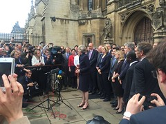 Theresa May speaks to members of the media