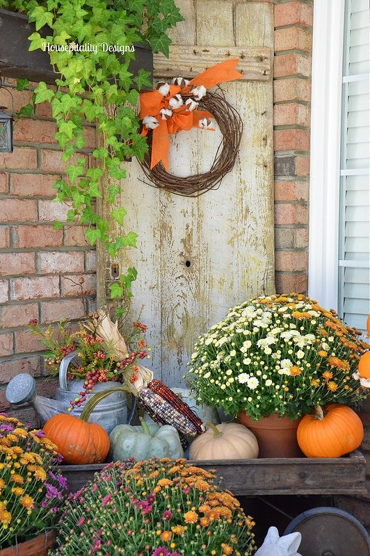 Fall Porch-Vintage Wagon-Vintage Weathered Door-Housepitality Designs