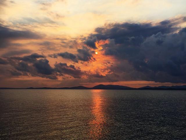 Bushfire sunset. Port Clinton.