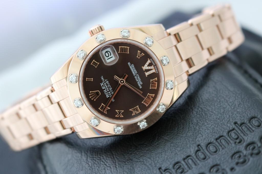 Đồng hồ rolex datejust 81315 – dòng Pearmaster Nữ – Vàng hồng 18k – hạt xoàn – size 34mm