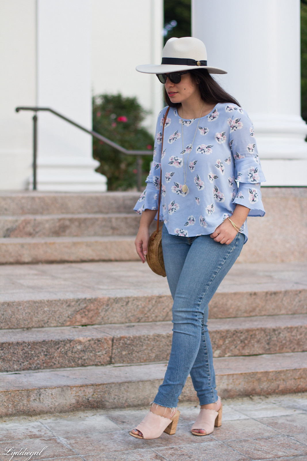 Floral bell sleeve blouse, raw hem jeans, scalloped mules, fedora-2