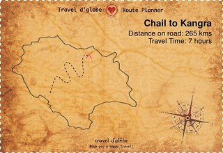 Map from Chail to Kangra