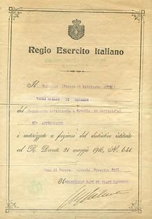 Italian World War I Service Medal certificate1