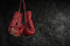 Quit boxing,Old boxing gloves The concept of retirement