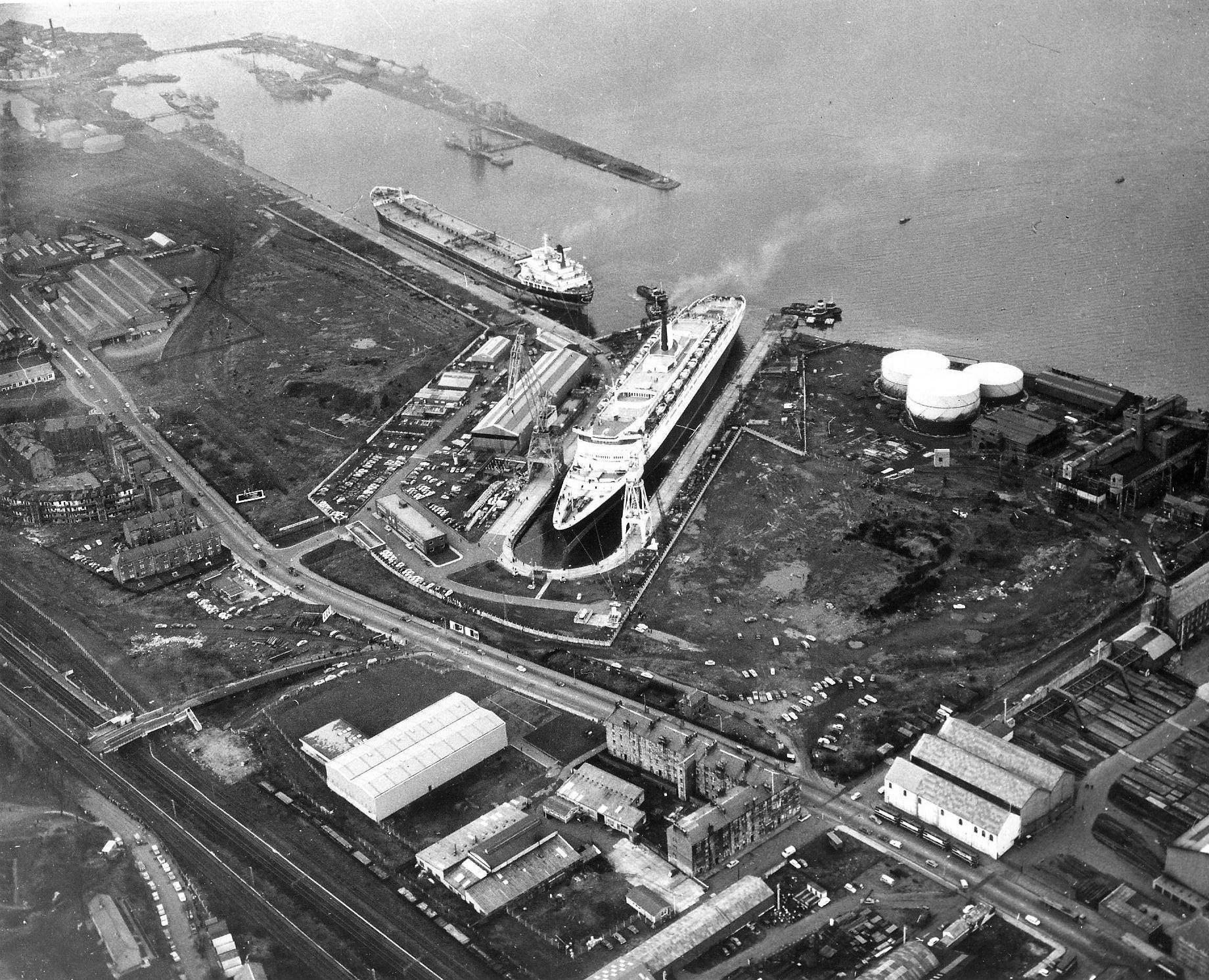 QE2 ready for sea trials at Inchgreen, Glasgow, Scotland, November 1968
