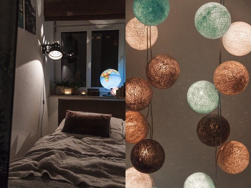 Gemütliches kleines Schlafzimmer stimmungsvolle Lampen