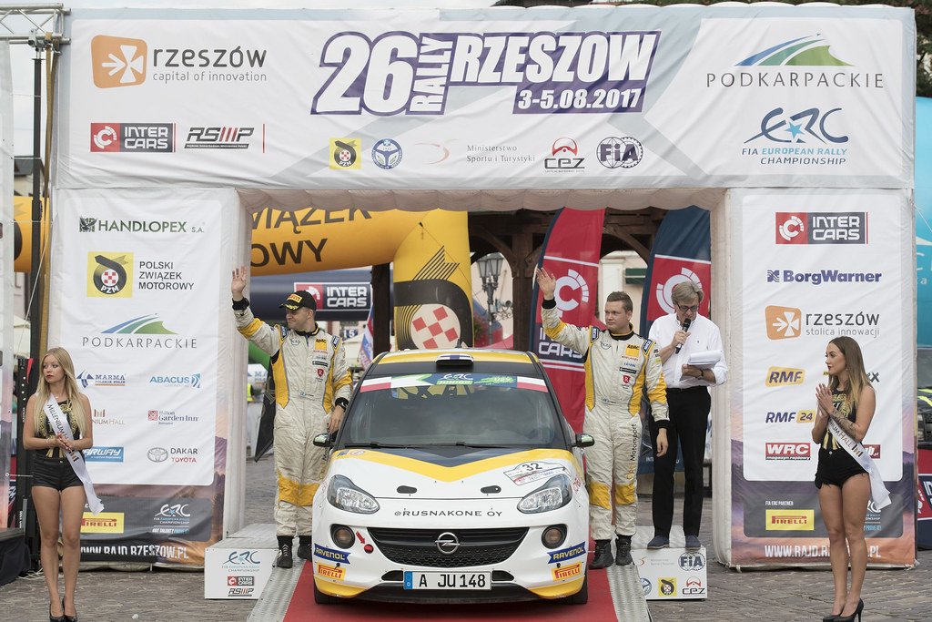 HUTTUNEN Jari (FIN) LINNAKETO Antti (FIN) Opel Adam R2 ambiance portrait podium during the 2017 European Rally Championship Rally Rzeszowski in Poland from August 4 to 6 - Photo Gregory Lenormand / DPPI