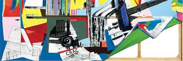 Fragmento de CRAC, 2011Acrílico, tinta y espejos sobre tela y madera, 220 x 300 cm.Colección Paula y Gaspar Noé.