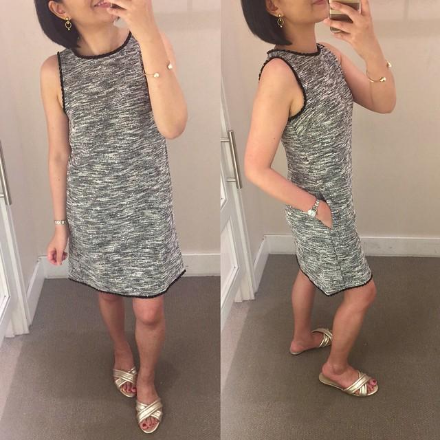 LOFT Fringe Tweed Shift Dress, size 0P