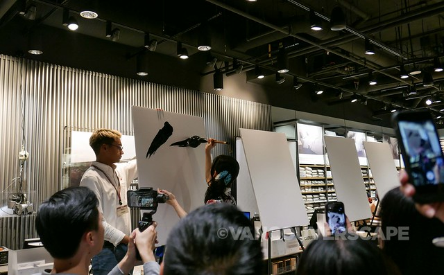 MUJI Canada live calligraphy painting