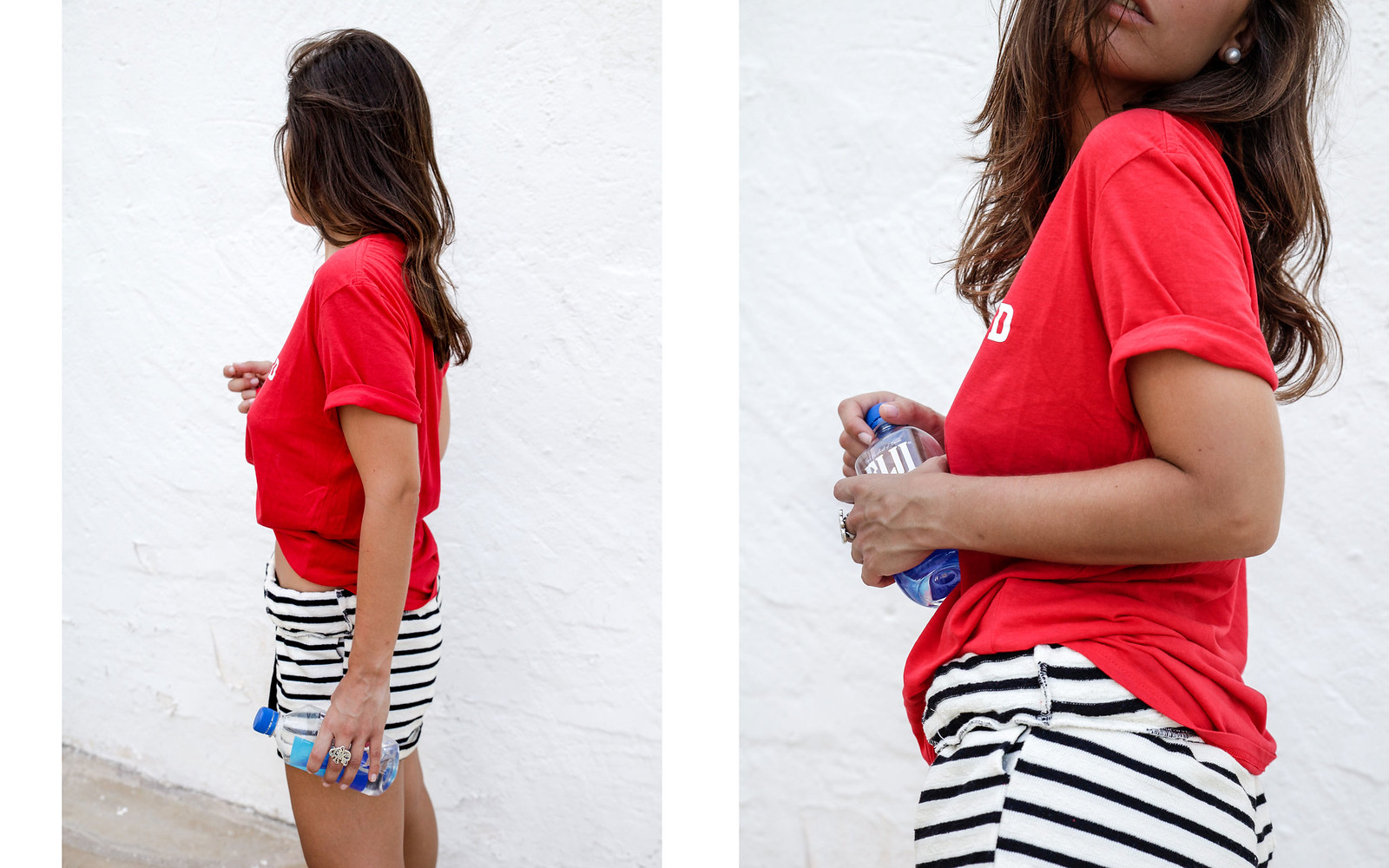 03_shorts_rayas_unexpected_shirt_stripes_shorts_pieces_unexpected_shirt_morinko_red_tshirt_style_theguestgirl_pieces_ootd_influencer_barcelona_verano_fiji_water.