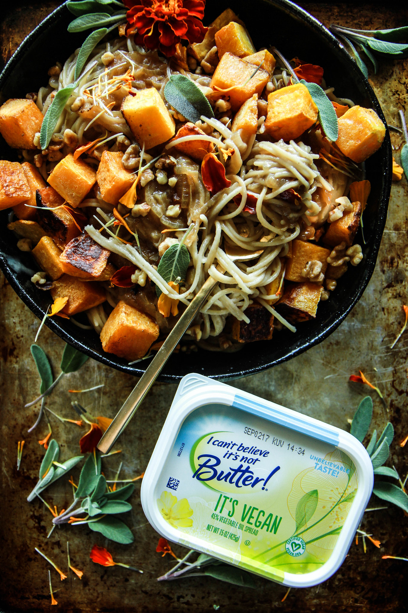 Caramelized Onion and Roast Butternut Squash Pasta - Vegan and Gluten-Free from HeatherChristo.com