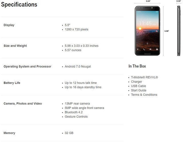 TMO REVVL Specifications