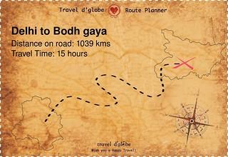 Map from Delhi to Bodh gaya