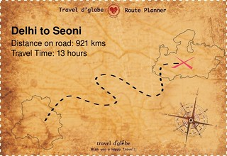 Map from Delhi to Seoni
