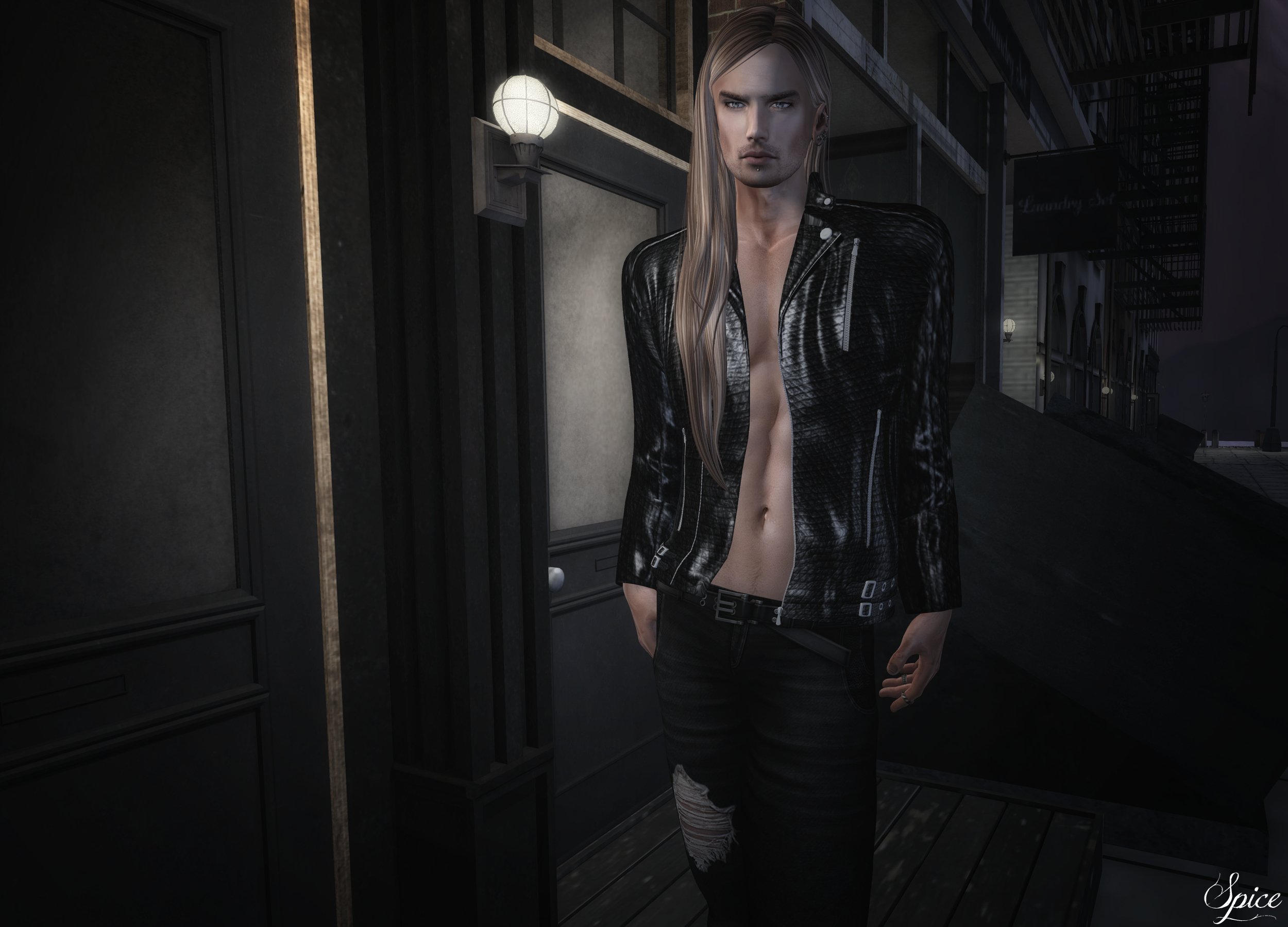 Spice wearing ::ALTER:: Daniel Leather Jacket and Damon Biker Jeans @ The Darkness Monthly