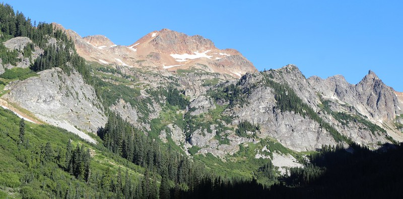 One last view of Phelps Ridge, Larch Knob, and the route to Spider Gap from the lower end of Spider Meadow