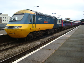 Loco number 43002 in British Rail blue and grey livery at Swansea station