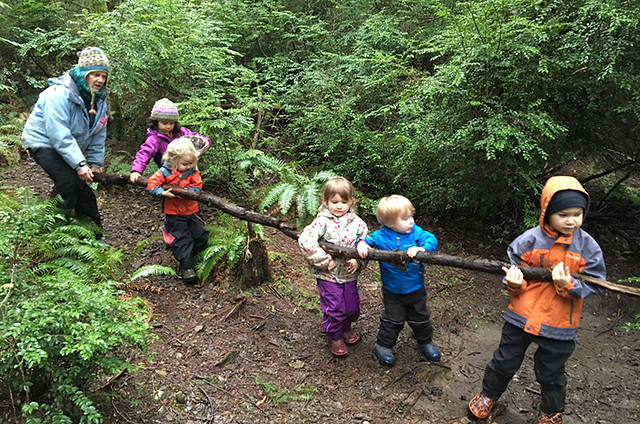 image of kids at forest preschool