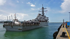 USS John S. McCain (DDG 56) arrives at Changi Naval Base, Aug. 21. (U.S. Navy/MC2 Joshua Fulton)