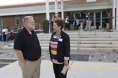 Rep. Melissa Ziobron talks with Steve Archibald, Spanish teacher and President of the East Hampton Education Association, before an official ribbon cutting ceremony for the recently renovated and expanded East Hampton High School.