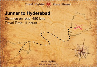 Map from Junnar to Hyderabad