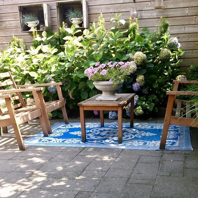 Houten tuinset vloerkleed voor buiten
