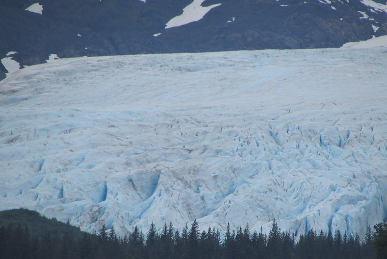 A close up of the glacier