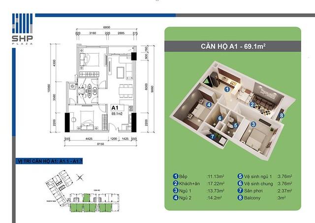 """SHP Plaza Căn hộ cho thuê tại Hải Phòng - Bố cục căn hộ cho thuê tại SHP - Mẫu A1  <img src=""""images/"""" width="""""""" height="""""""" alt=""""Công ty Bất Động Sản Tanlong Land"""">"""