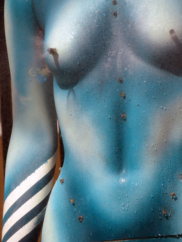 Cooling water spray from a mannequin at the Mural Fest just off Main St. in Vancouver