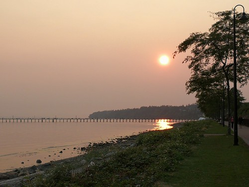 ocean forestfires sunset canada bc whiterock