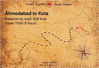 Map from Ahmedabad to Kota