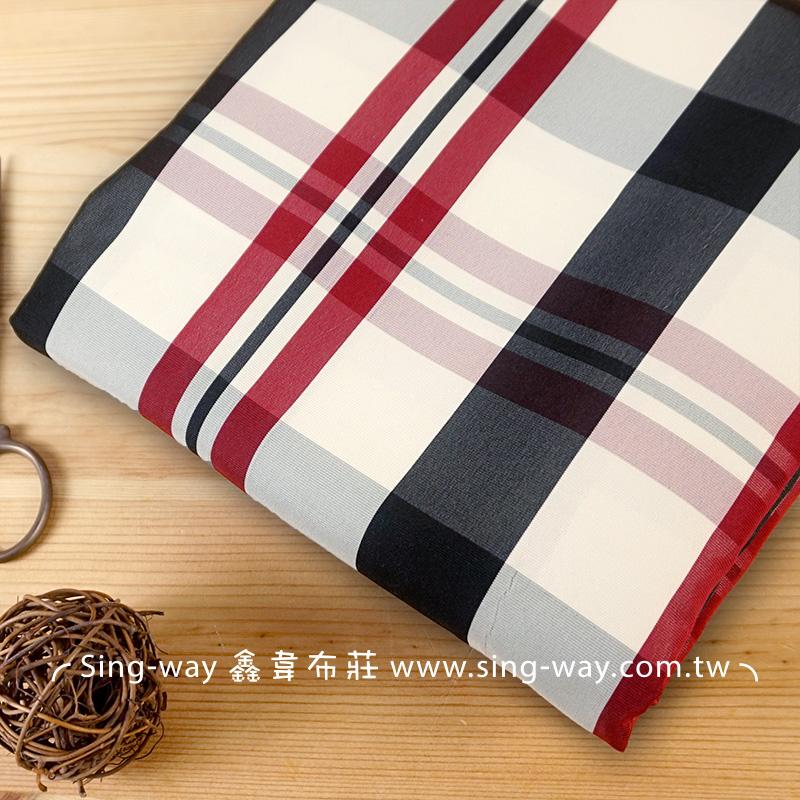 卡其紅黑格紋 桌巾 洋裝服裝布料 FC390438