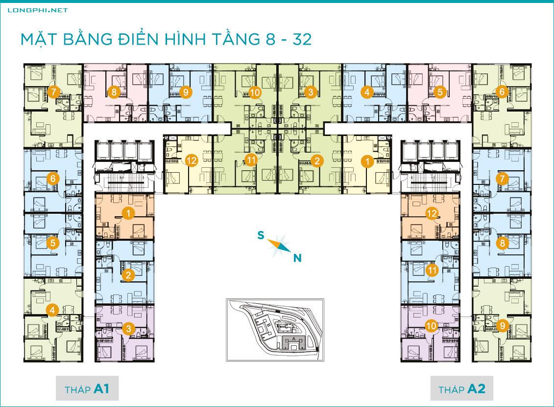 Mặt bằng căn hộ tầng 8-32 tháp A dự án Lavida Plus quận 7 - Quốc Cường Gia Lai.