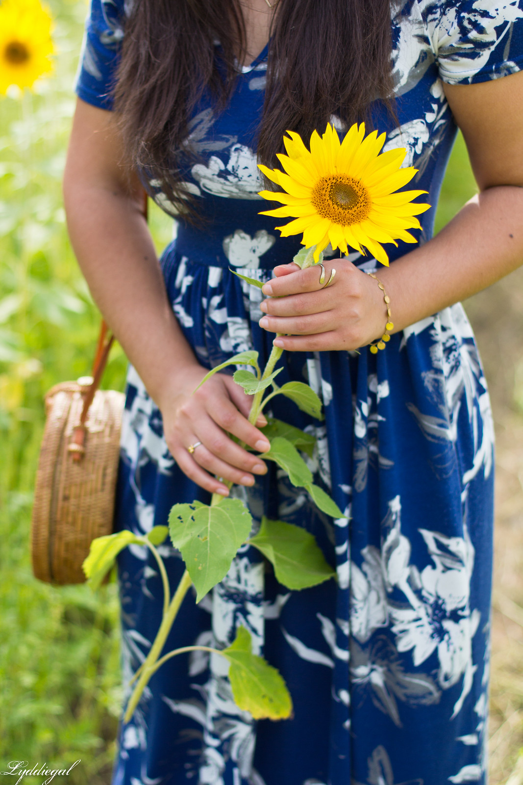 blue floral maxi dress, round rattan bag, straw hat, sunflower field-13