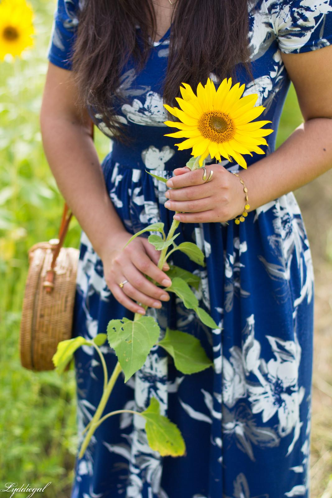 671f31d850d90 ... blue floral maxi dress, round rattan bag, straw hat, sunflower field-13  ...