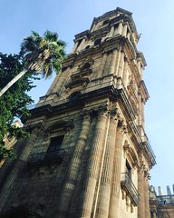 The #Málaga #cathedral is located within the limits defined by a now missing portion of the medieval Moorish walls, the remains of which surround the nearby Alcazaba and the Castle of Gibralfaro. It was constructed between 1528 and 1782, following the pla